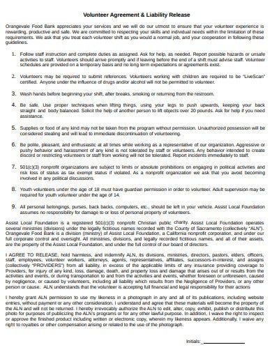 charity liability release volunteer agreement template