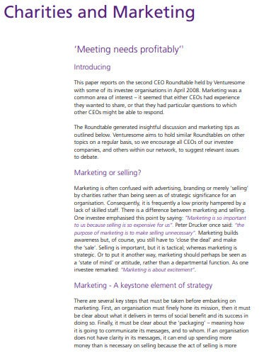 charity marketing meeting strategy
