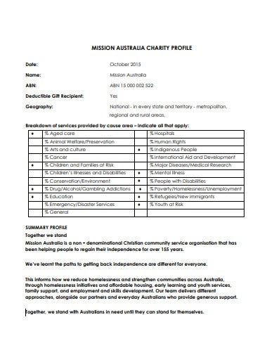 charity mission profile statement template