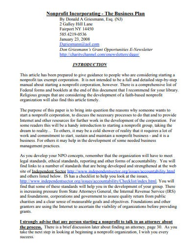 charity non profit business plan template