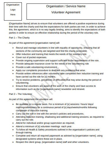 charity organisation service volunteer agreement template