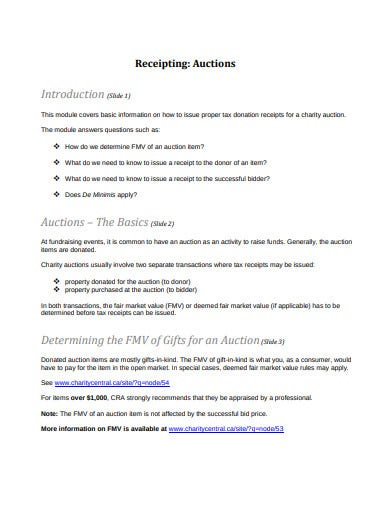 charity receipting auctions template
