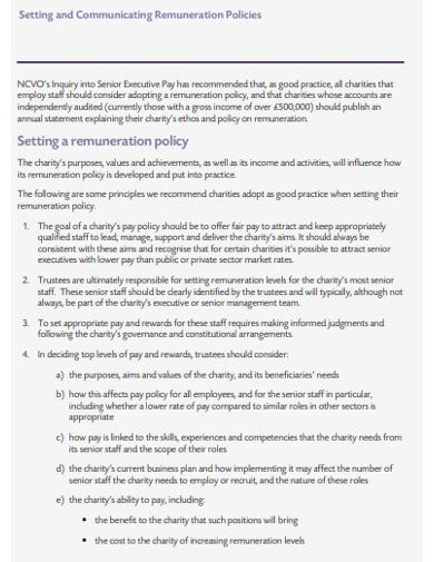 charity remuneration policy template