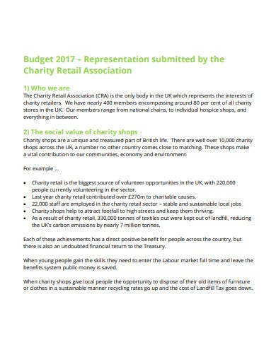 charity retail association budget template