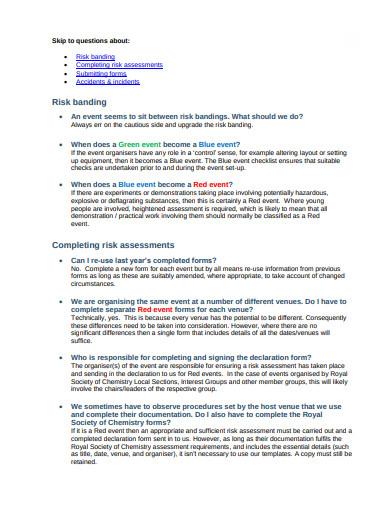 charity risk assessment management template