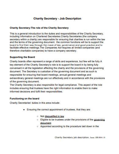 charity secretary job description