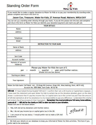 10+ Charity Standing Order Form Templates in PDF | DOC | Free & Premium  Templates