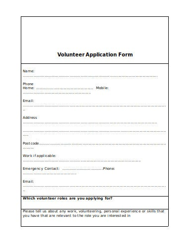 10  charity volunteer application form templates in doc