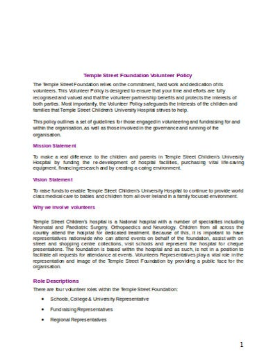 charity volunteer foundation policy