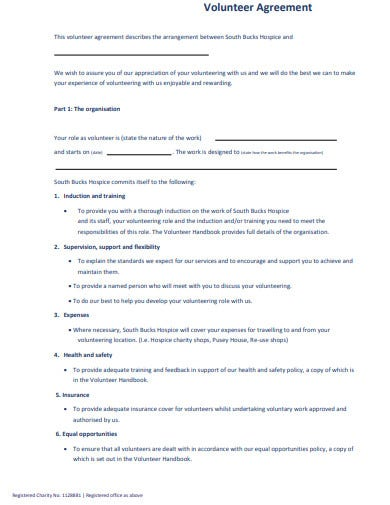 charity volunteering registration agreement form