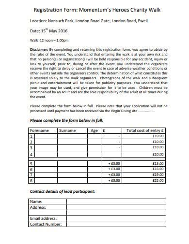 charity walk registration form template