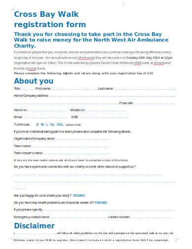 charity walk registration form in doc