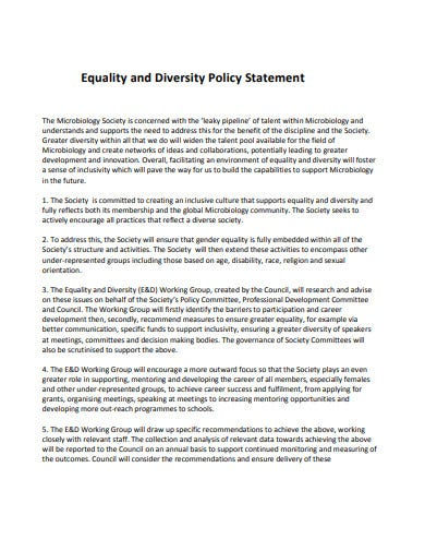 charity equality diversity format