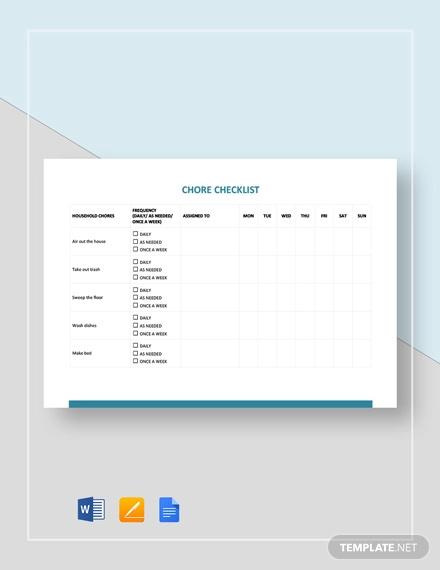 chore checklist template