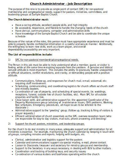 church administrator job description template