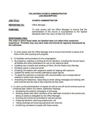 church administrator volunteer job description template