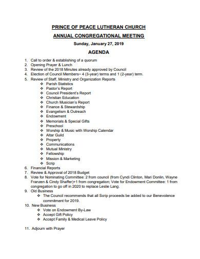 church annual meeting agenda template