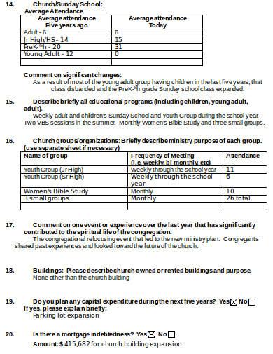church attendance sheet format