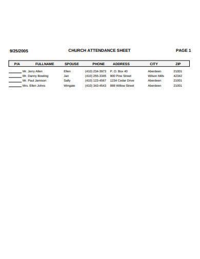 church attendance sheet template