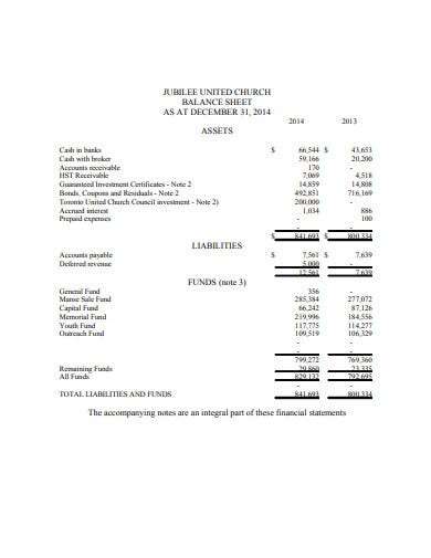 church balance sheet in pdf