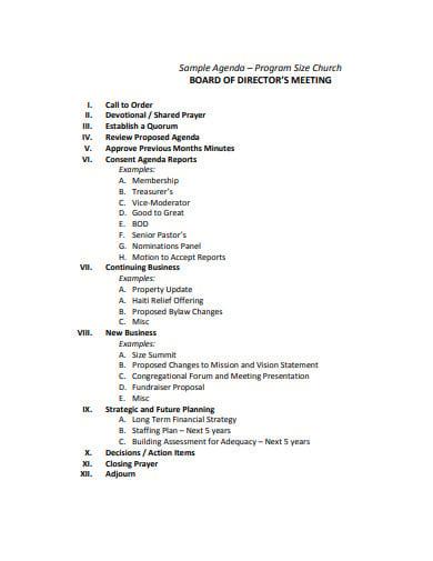 church board of directors meeting agenda template