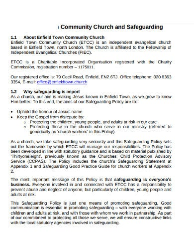 church community safeguarding policy