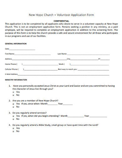 10  church volunteer application form templates in pdf