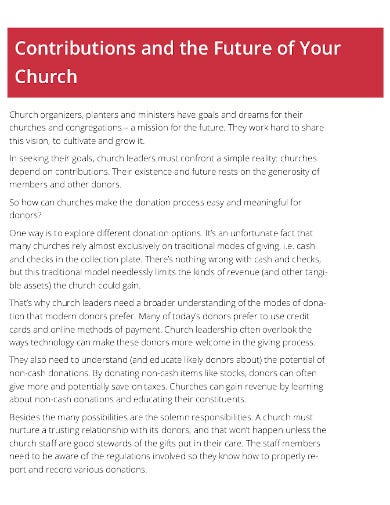 church contribution statement example