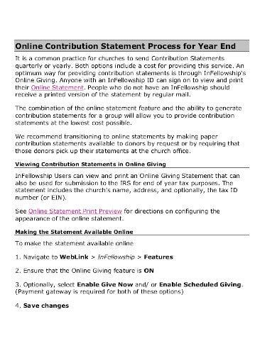 church contribution yearly statement