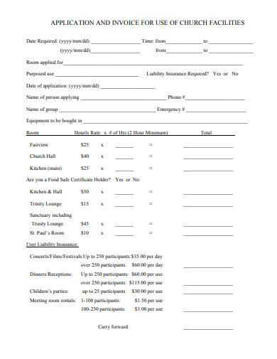 church facilities invoice