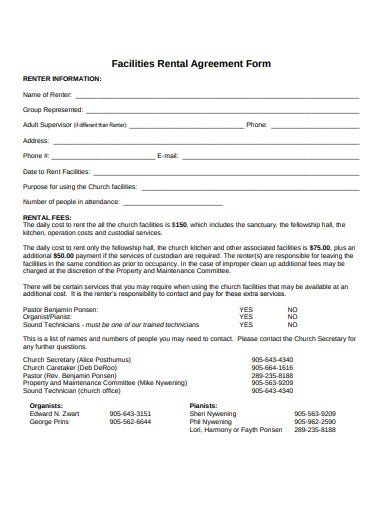 church facilities rental agreement form template