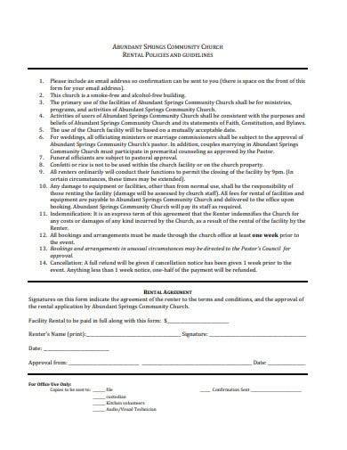 church facility rental application agreement template
