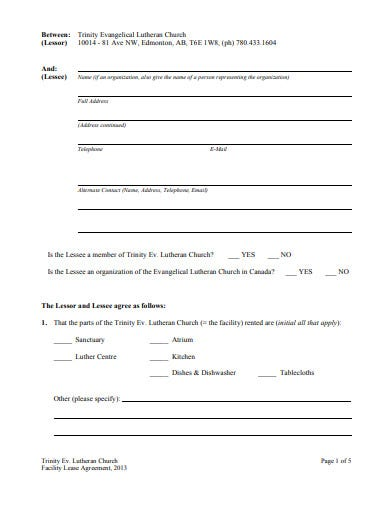 church facility rental lease agreement template