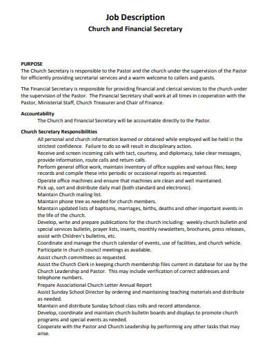 church financial secretary job description template