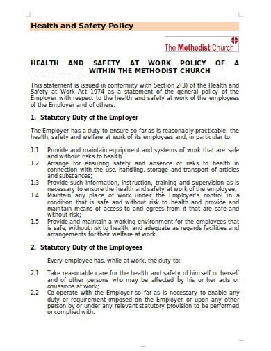 10+ Church Health and Safety Policy Templates in PDF ...