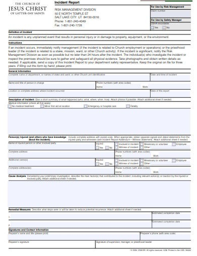 church incident report simple
