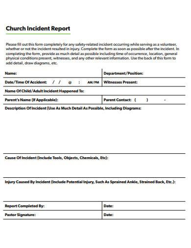 church incident report template in pdf
