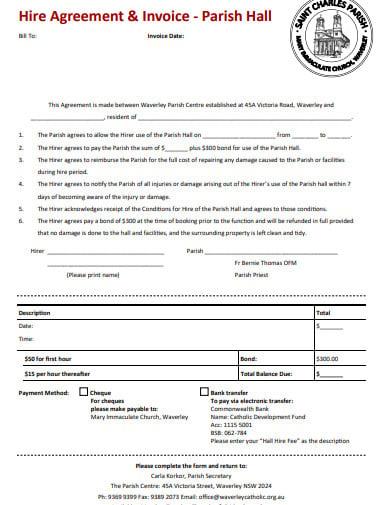 church invoice hire agreement