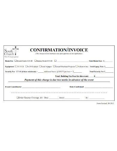 church invoice or confirmation template