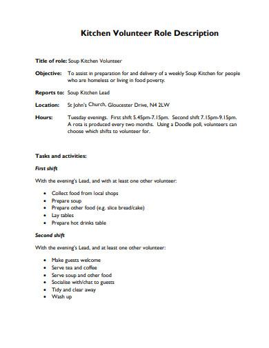 church kitchen volunteer job description template