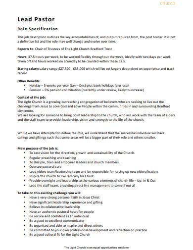 church lead pastor job description template