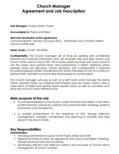 church manager agreement job description template