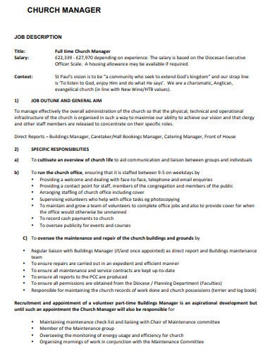 church manager job description template