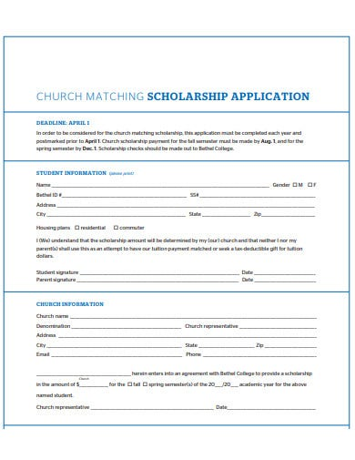 church matching scholarship application