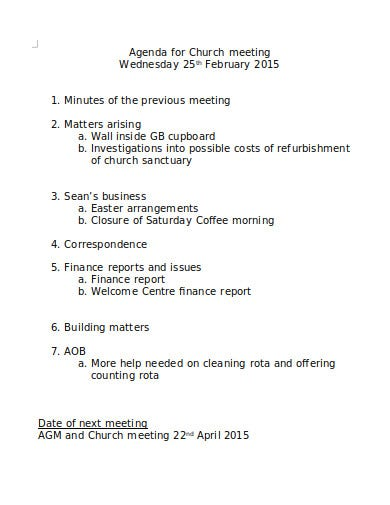 church meeting agenda format