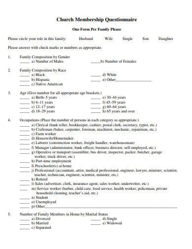 church membership questionnaire template