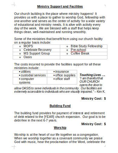 church ministry budget plan