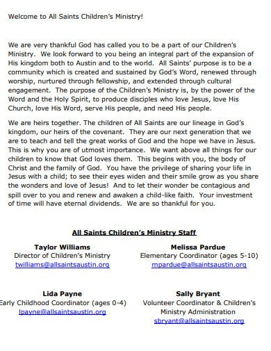 church ministry staff welcome letter