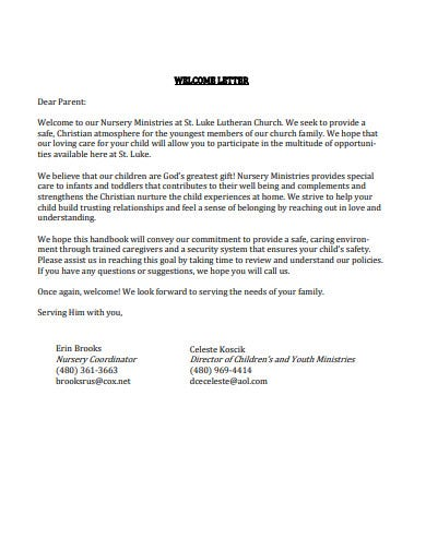 church ministry welcome letter