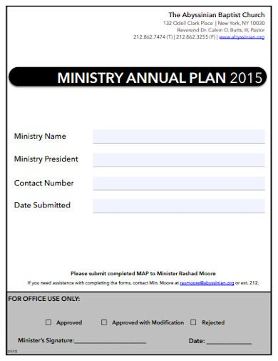 church ministry year plan